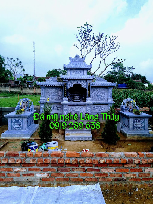 Lăng mộ đá đẹp ninh bình thanh hóa rẻ bằng đá xanh đen khối cổ nhất